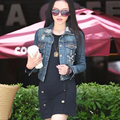 New Fashion Brand 2015 Spring And Autumn Denim Short Jacket With Rivet Hole Denim Female Outerwear