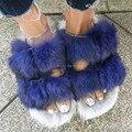 Fashion Blue Rabbit Fur Women Slippers Winter Warm Gladiator Flat Sandals Ladies Summer Flats Casual Shoes Woman Slides