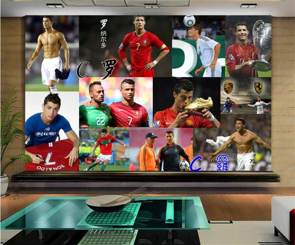 custom 3d photo wallpaper mural living room Football star Ronaldo 3D Photo sofa KTV Gym background wall non-woven wall sticker 3d photo wallpaper custom room mural non woven sticker retro style bookcase bookshelf painting sofa tv background wall wallpaper