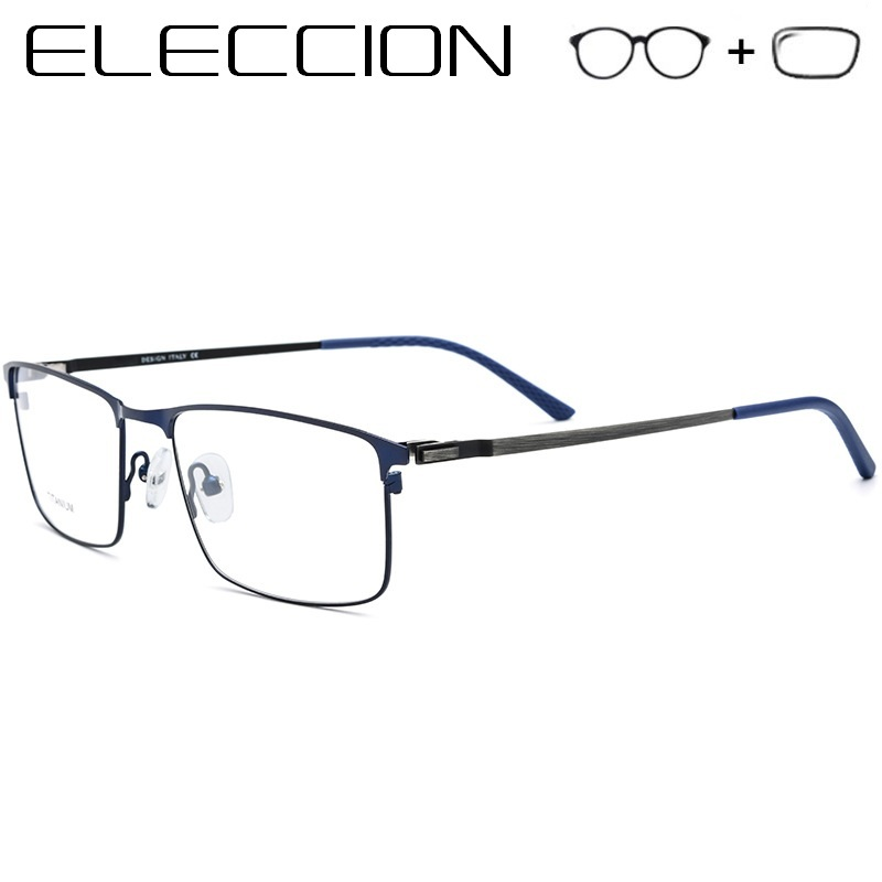Optical Aspherical Lenses Prescription Glasses Men 2018 New Full Frame Titanium Alloy Myopia Eyeglasses Screwless Eyewear