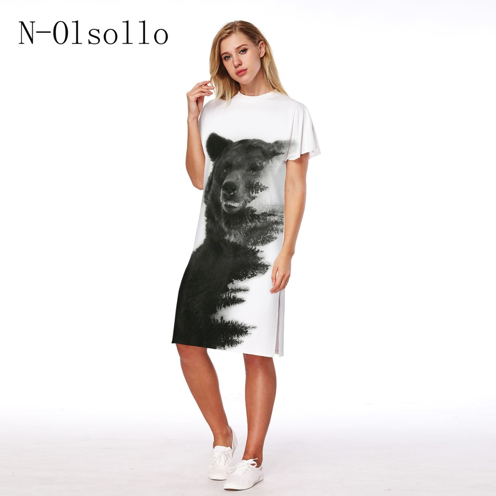 Aliexpresscom  Buy N Olsollo Hot Sale 3D Bear White Dress Pullover Sexy Slit Dresses -2644