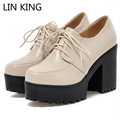 LIN KING New Women Pumps Lace Up Thick Sole Round Toe Platform High Heel Shoes Solid Party Wedding Square Heel PU Shoes Big Size