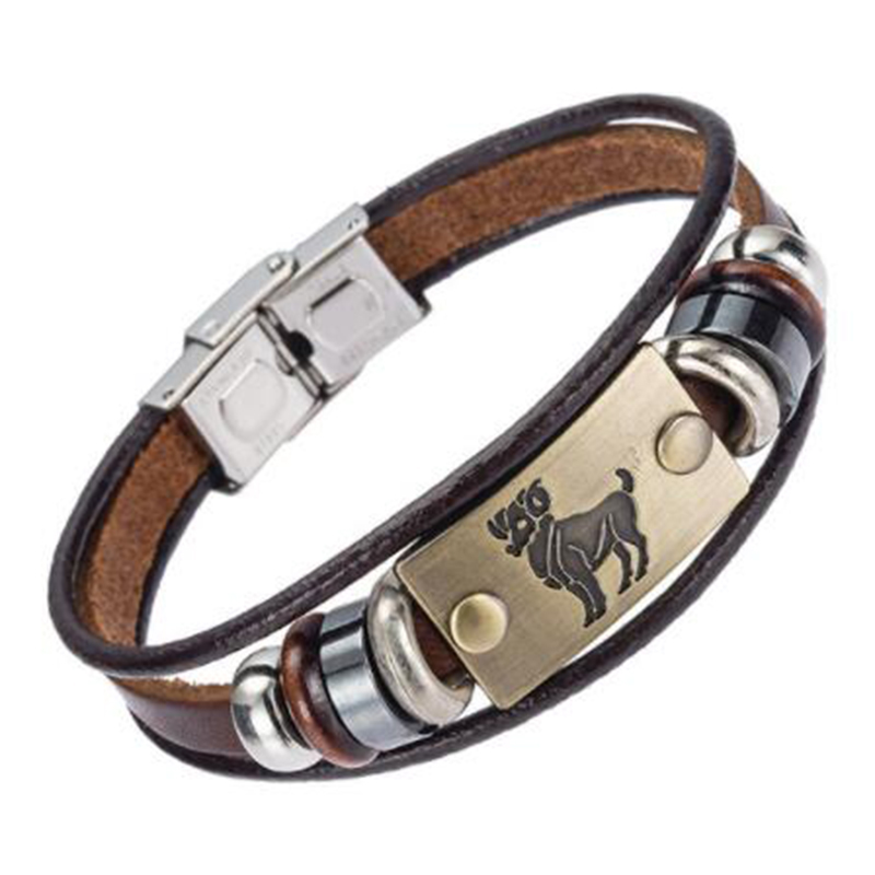 Drop Shipping Hot Selling Europe Fashion 12 zodiac signs Bracelet With Stainless Steel Clasp Leather Bracelet for Men XY17018 2