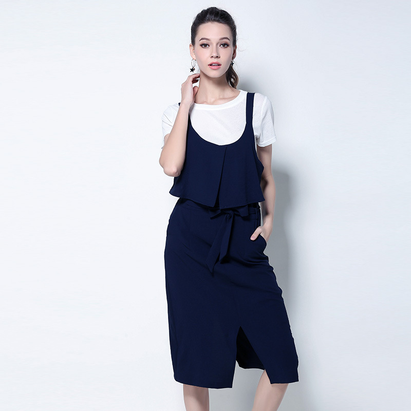 New 2017 Summer Fashion ladies cute split end strap dress with white t shirt casual vestidos