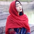 Algodão Muçulmano cachecol Hijab islâmico Xale longo macio Cor sólida mulheres Echarpe sh06 Wraps primavera de linho de luxo Quente Do Vintage