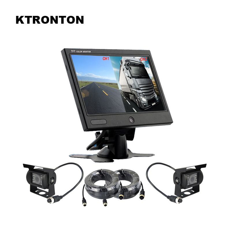 Dual Split Screen Car Rear View Monitor + Backup Camera with 18 LED IR Night Vision and Aviation connector for Truck Bus RV dual backup camera and monitor kit for bus truck rv ir led night vision waterproof rearview camera 7 lcd rear view monitor