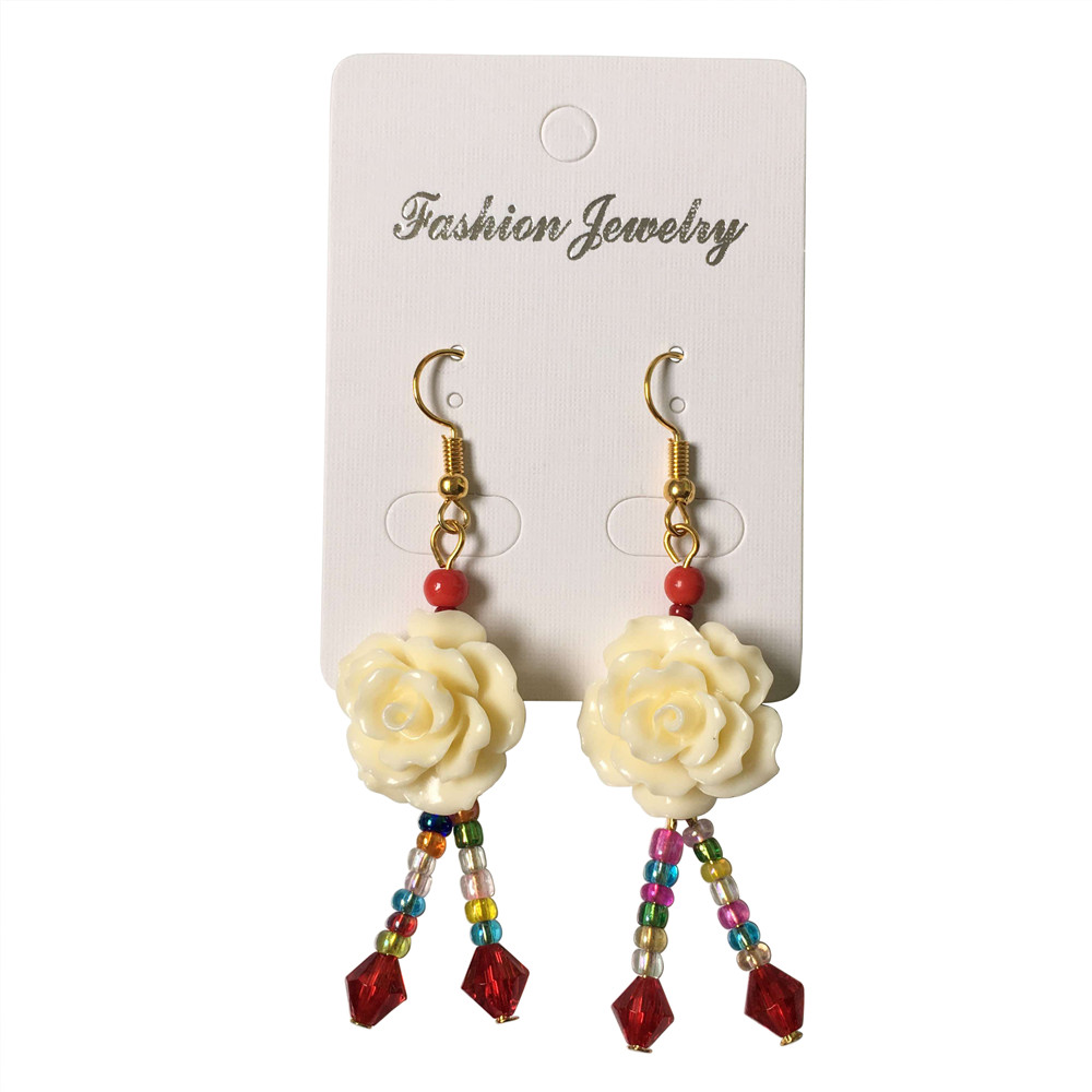 Wholesale 12 Pairs Handmade Fashion Hook Earrings Gold Alloy Resin Rose Flower Crystal Beads Eardrops Earring Women Accessories