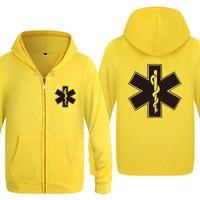 Zipper Hoodies Men EMT Emergency Ambulance Printed Mens Hoodie Brand Fleece Long Sleeve Mens Jacket Sweatshirt