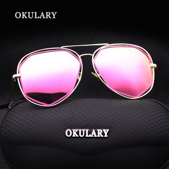2018 Fashion Mirror Women Sunglasses 4 Color Rose Red/Pink/Blue/Silver UV400 With Box Free Shipping