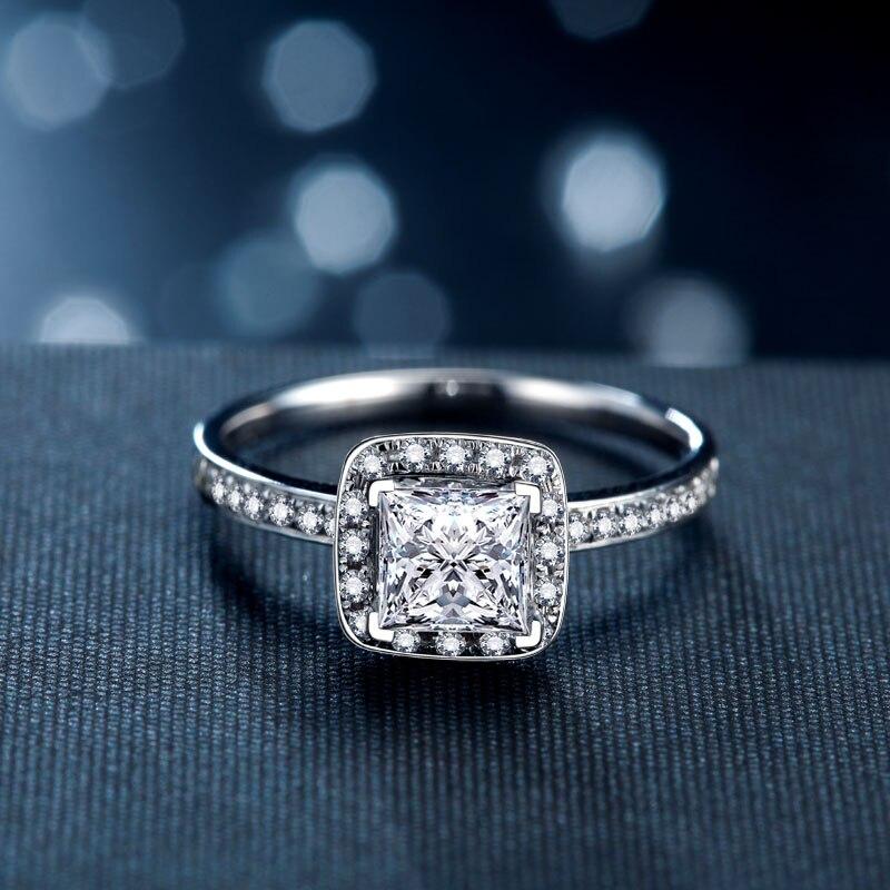 Bague de fiançailles femmes 5mm princesse coupe cubique zircone anneau de proposition véritable 925 en argent Sterling anneau cadeau pour petite amie