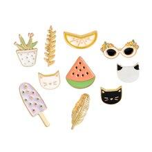 Jacket Pin Badge Brooch Jewelry-Decoration Lapel Cartoon Cat Metal for 1pcs Watermelon