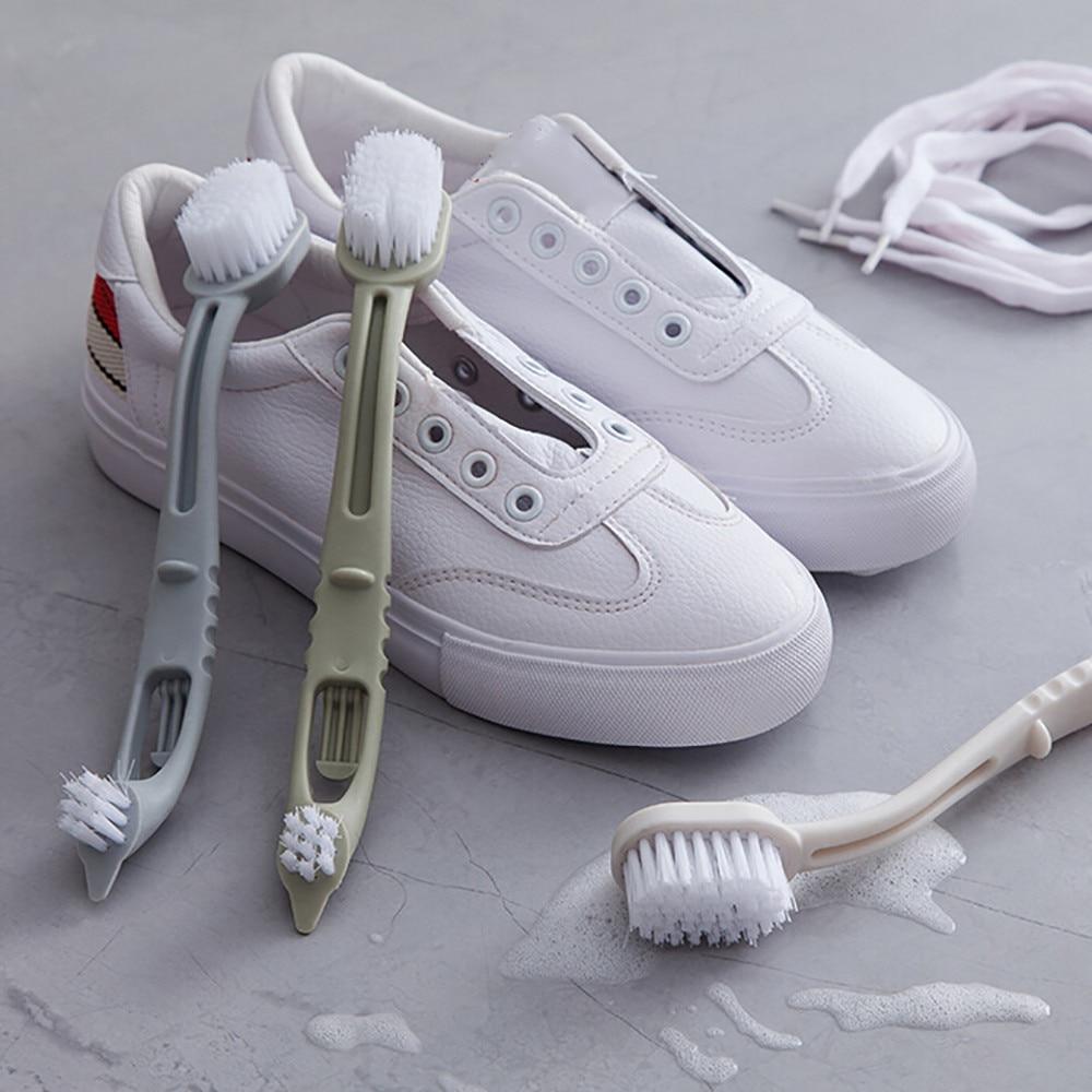 1 Pieza De Doble Cabeza De Plástico Largo Mango Zapatos De Lavado Cepillo Limpiador Zapatillas De Limpieza Hx0425