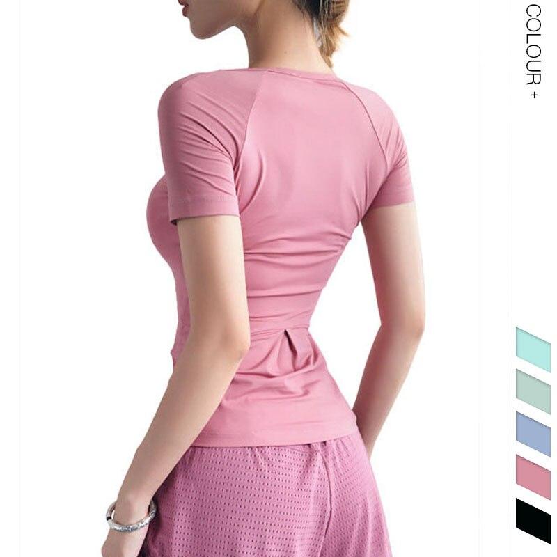 <+>  Женская стройная дышащая быстросохнущая спортивная рубашка с короткими рукавами для йоги узкая талия ★