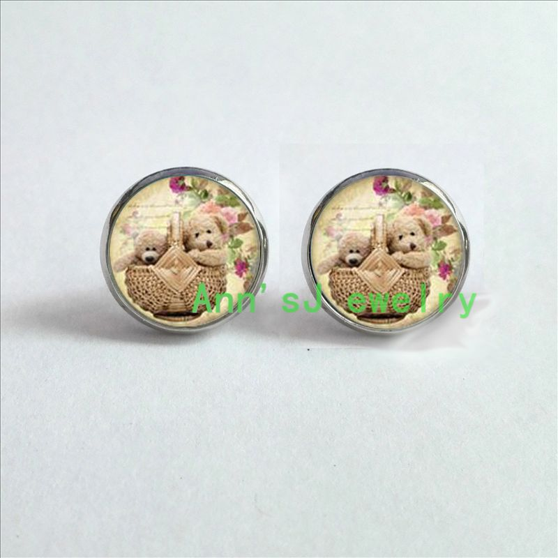 ES-00206 1pair Teddy ear nail Bear Earrings jewelry glass ear stud Cabochon Earrings ...
