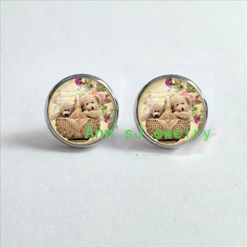 ES-00206 1pair Teddy ear nail Bear Earrings jewelry glass ear stud Cabochon Earrings ...