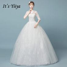 It s YiiYa High Neck Floor-length Wedding Dresses Elegant Half Sleeve  Brides Gowns Vestidos Bling Deovia Casamento BL051 fe39474422a0