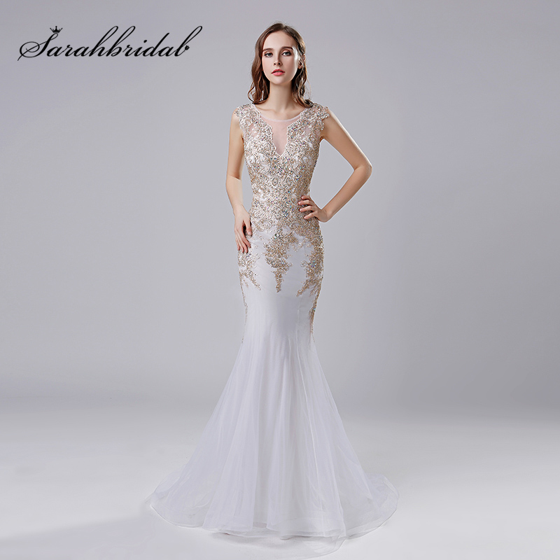 2018 Gold Lace Appliques Mermaid   Evening     Dresses   with Beading Crystal Tulle Floor Length Long Sexy Party Gowns Bridal Gown OL527