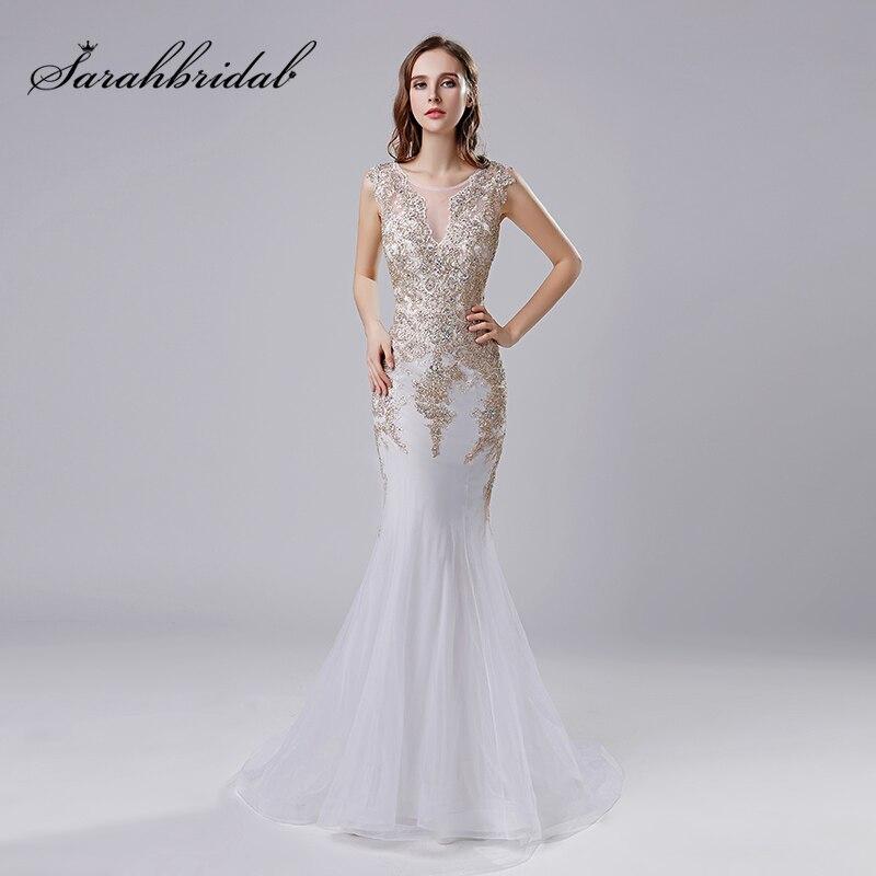 2018 or dentelle Appliques sirène robes de soirée avec perles cristal Tulle longueur de plancher longue Sexy robes de soirée robe de mariée OL527