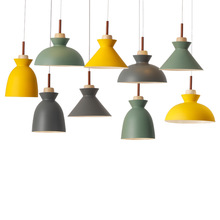 Nordic Creative Fashion Solid Wood Pendant Light Retro Simple Multicolor Iron E27 lamp For Restaurant Bar Coffee Shop