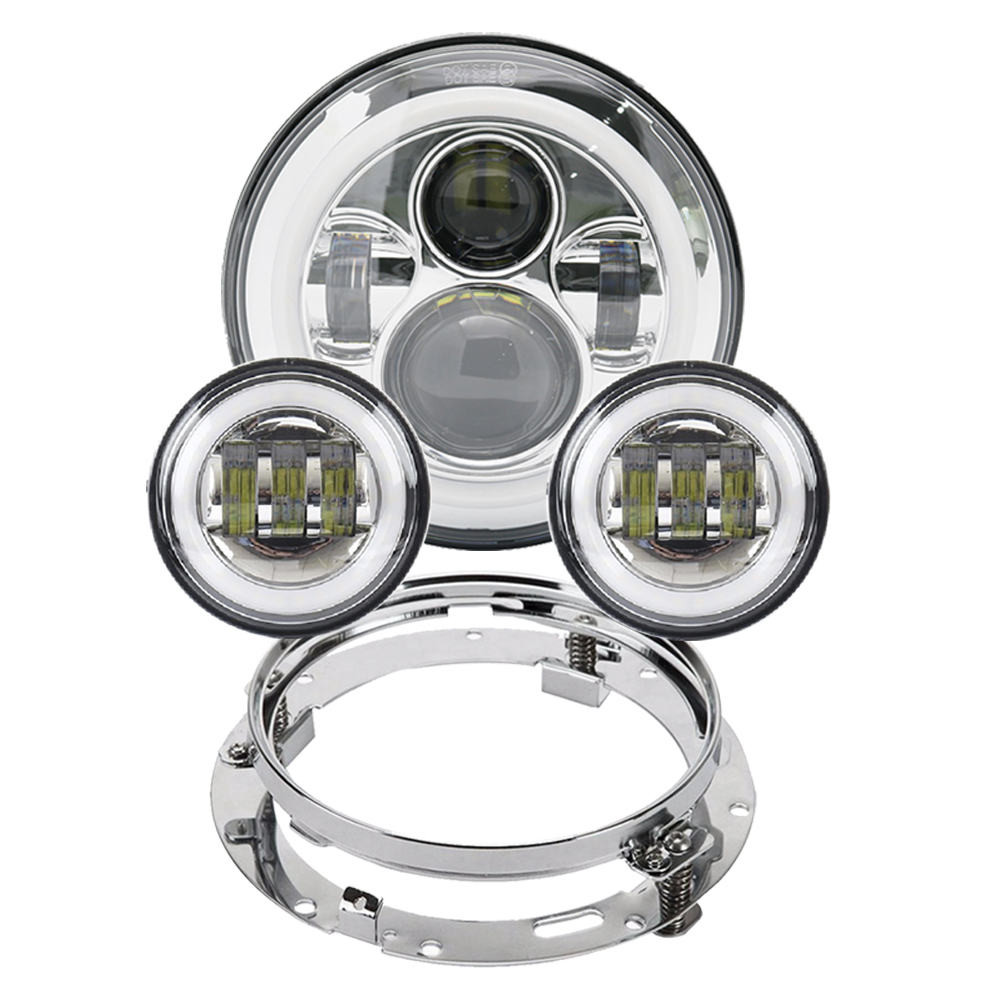 "Motorcycle 7 Inch Moto LED Headlight For Harley Bike With 4-1/2""4.5"" LED Passing Lamps Fog Lights & 7""Bracket Mounting Ring"