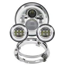 """Motorrad 7 zoll Moto LED Scheinwerfer für Harley bike mit 4 1/2 """"4.5"""" LED Vorbei Lampen Nebel lichter & 7 """"Halterung Montage Ring"""