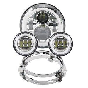 """Image 1 - Motorrad 7 zoll Moto LED Scheinwerfer für Harley bike mit 4 1/2 """"4.5"""" LED Vorbei Lampen Nebel lichter & 7 """"Halterung Montage Ring"""