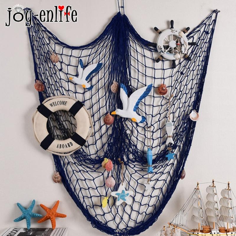 JOY-ENLIDE 1pcs Happy Birthday Decorations Fishing Net Linen Mermaid Party Wedding Baby Shower Table Flag Photo Wall Home Decor