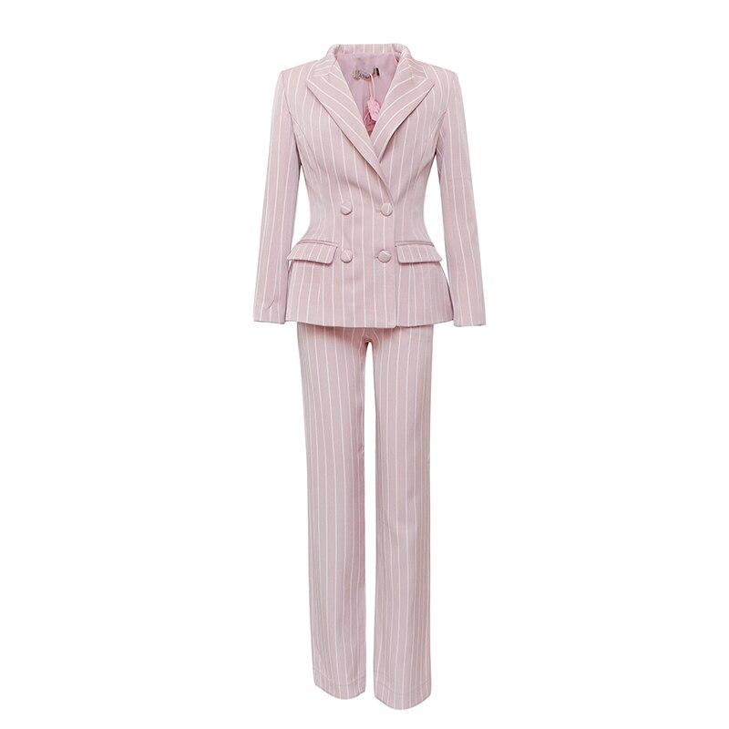 Le palais cru 2018FW Élégant Rayé Pantalon Costumes Femmes avec Épaulette Épaissir Tissu Double Breasted