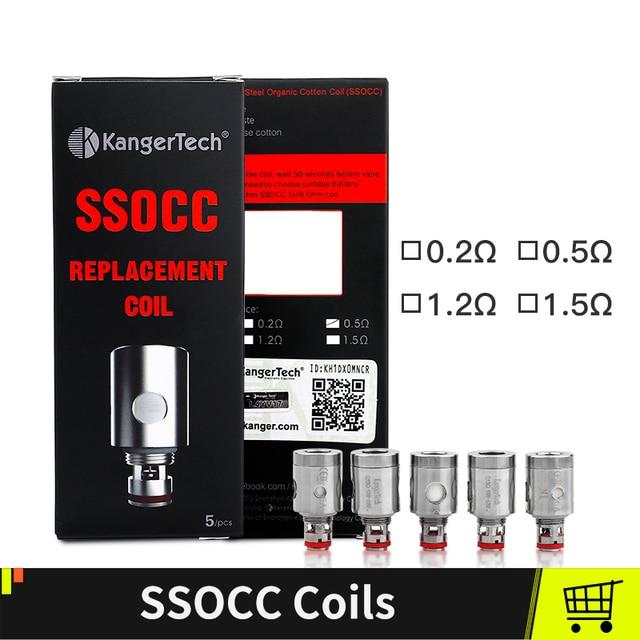 Kangertech ssocc катушки Fit Kanger Toptank Subtank Topbox мини Subox c емкости для парогенератора Sub Ом 0.5ohm 1.5ohm 5 шт./лот