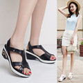 Genuine Leather Open Toe Large Size 40-42 Sandals 2017 Summer Womens Shoes  New Female Sandals Casual Mother Sandals