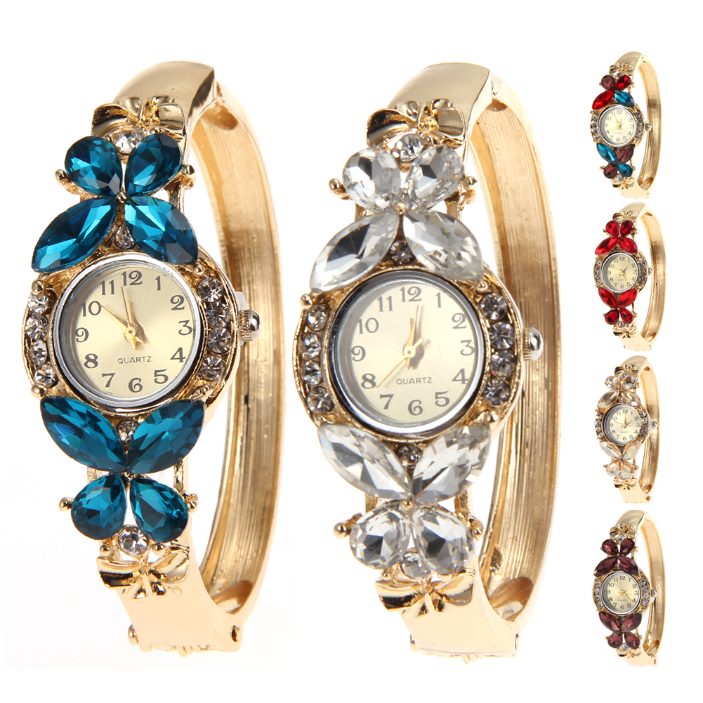 цены Free Shipping GENEVA Bangle Watches Gold Plated Crystal Women's Bracelet Cuff Butterfly Dress Quartz Watch Casual Wristwatch