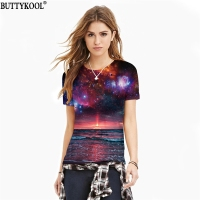 BUTTYKOOL Summer Breathable Women's T Shirt Harajuku Rock Women's T Shirt Funny Galaxy Galaxy Print Ladies Tops Tees