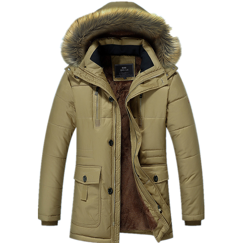2019 Faux Fur   Parka   Coat New Winter Men Jacket Thick Jacket Down&   Parkas   Warm Hooded   Parkas   Male Windproof Outerwear