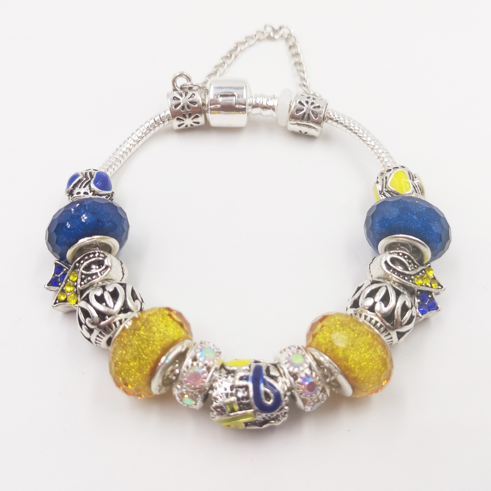 Sue Phil Lovely Girl Blue yellow Bracelet For Women Glass Bead Crystal Breast Cancer Awareness hot