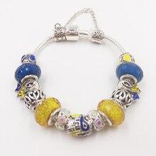 Сью Фил милые девушки синий желтый браслет для Для женщин Стекло бисера Кристалл рака груди осведомленности горячая Распродажа браслеты дружбы