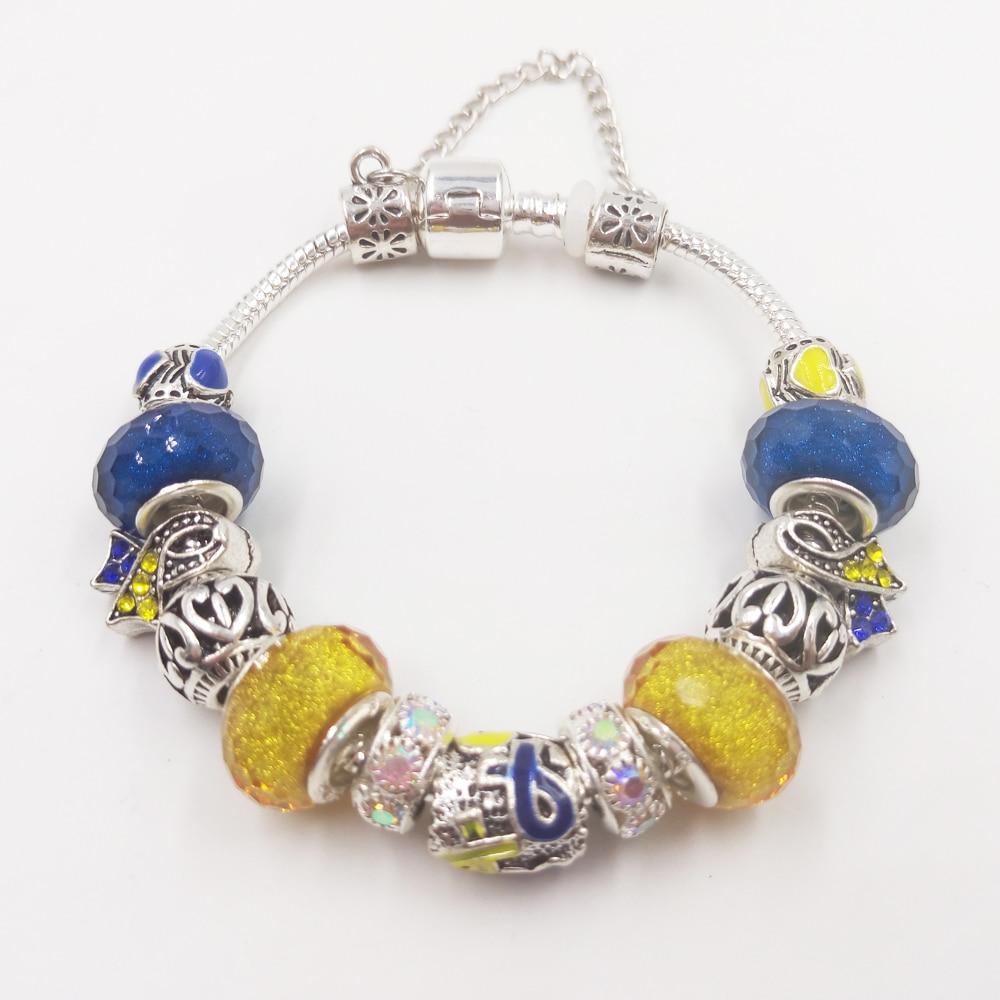 Sue Phil Belle Fille Bleu jaune Bracelet Pour Les Femmes En Verre Perle Cristal Sensibilisation au Cancer Du Sein vente chaude amitié bracelets