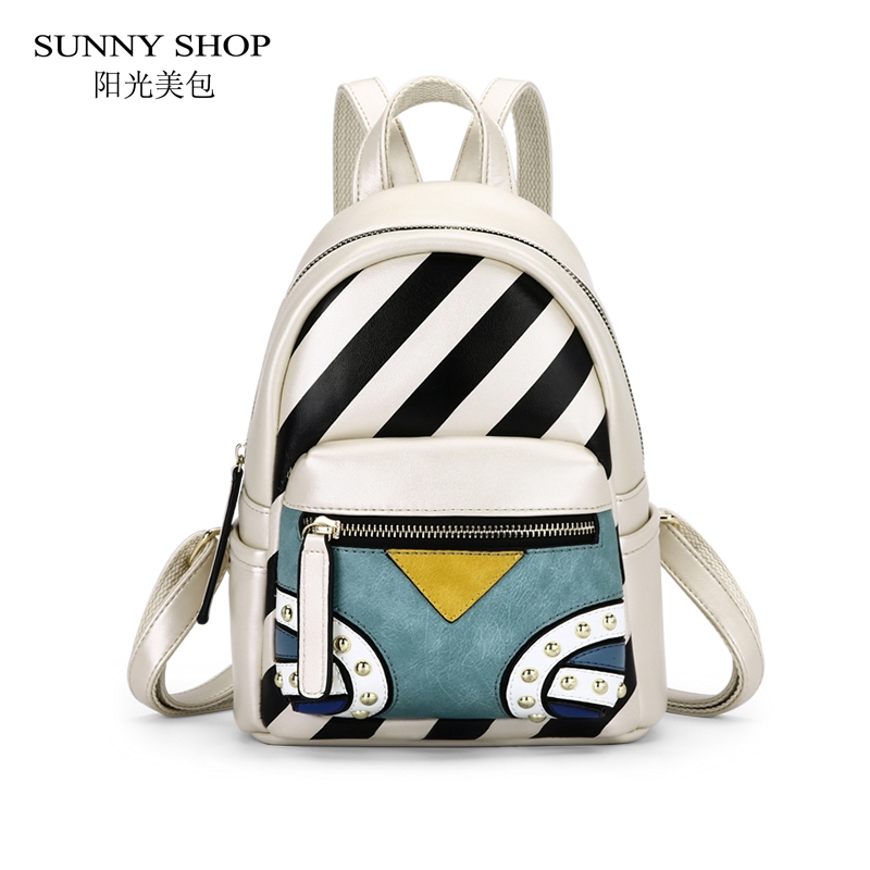 SUNNY SHOP Brand Designer Bohemia Spanish Style Backpack Women Striped Rivets Partwork PU Leather Backpacks Fashion