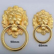 Perilla de mango de cabeza de león de estilo Vintage, perilla de cajón de oro, tirador de gabinete, manijas grandes para tocador de albóndigas, perilla de 90mm 68mm