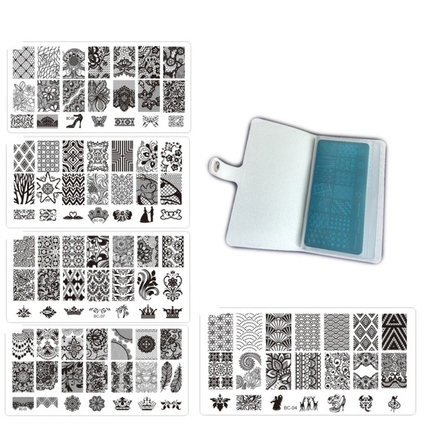 10 BC-Series Nail Stamp Plate+1 Pu Leather 20Slots Folder/Holders/Cases Nail template Album,Rose Plate case Sorting Plate Bag