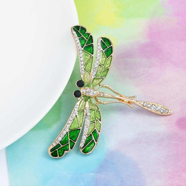 Модная винтажная эмалированная Брошь Стрекоза с кристаллами, металлическое насекомое со стразами, брошь, милые стразы, броши, бижутерия для костюма, X1136