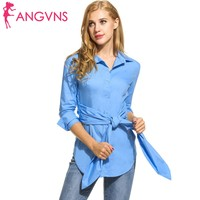 ANGVNS 2017 Autumn Spring Womens Blouse Casual Button Down Collar Shirt Female Tops With Belt Office
