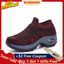 Krasovki Fitness Shoes Women Knitted Elastic Leisure Dropshipping Large Size Walking Middle Aged Fashion