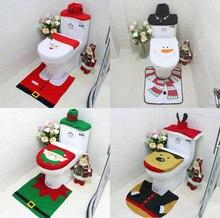 Новый бренд 3 шт./компл./ванная рождественское сиденье для унитаза рождественские украшения для дома Санта Снеговик экологичный склад
