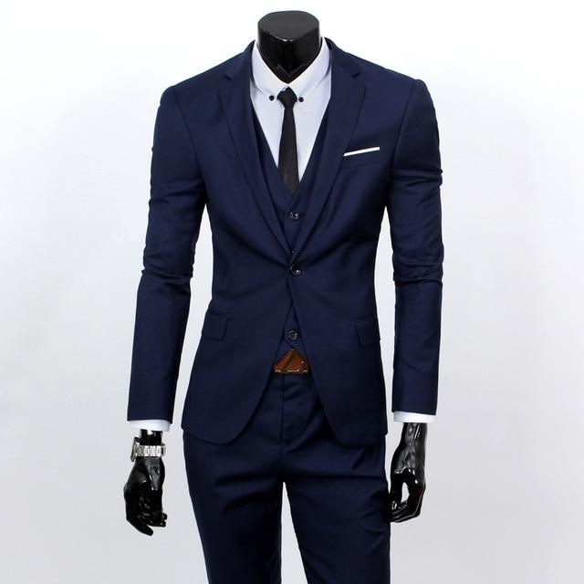 (Chaleco + juego + pantalones) 2016 hombres de color puro de alto grado de la marca de moda vestido de novia se adapte a Los Hombres Blaze boutique delgado formal de negocios Trajes