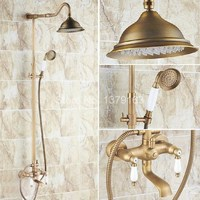 Antique Brass Dual Porcelain Handles Rain Bathroom Shower Faucet Set + Telephone Style Hand Shower ars114