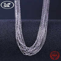 WK Wholesale Lots Bulk Genuine 925 Sterling Silver Link Chain Necklace Jewelry For Pendant 5 10