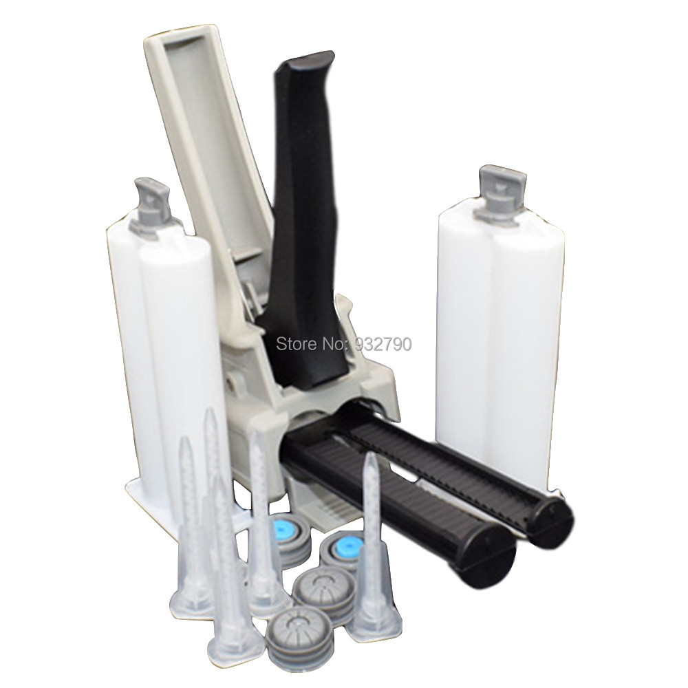 1:1 2:1 50ml Manual Applicator Epoxy Adhesive Gun Dispensing Gun + 5x Static Mixing Nozzle + 2x 50ml Epoxy Glue Cartridges Tube