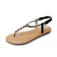 HEYIYI Gladiator Sandals Women Elastic Band Diamonds Rhinestone Flats Shose Summer Fashion Beach Peep Toe Rome