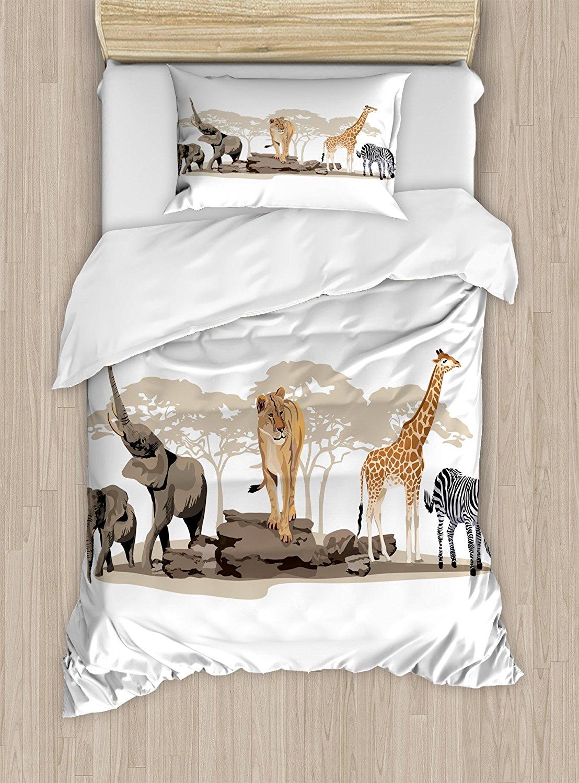 Safari постельное белье иллюстрации дикой саванны Африканский Животные экзотический Жираф льва, слона зебра 4 шт. Постельное белье
