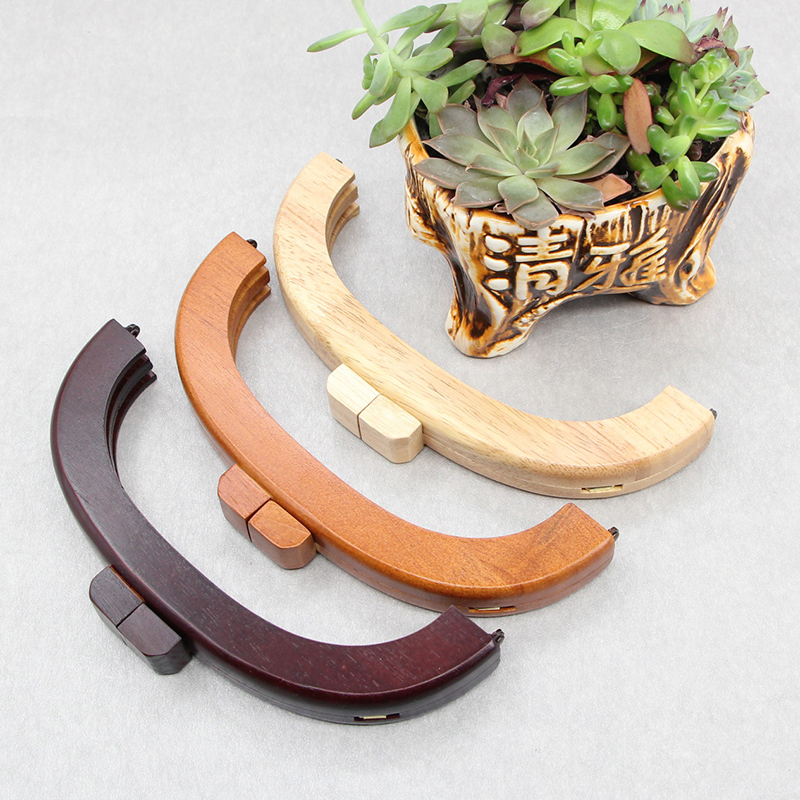 1 Piece Size 20 Cm Brown Color Solid Wood Material Anse De Sac Accessori Borse Coin Purse Clasp Wooden Purse Frame Purse Handle